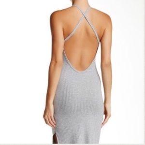 SOPRANO rubbed halter dress slits size small